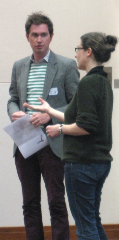 Andrew Goodwin looks uncertain as Arwen Pearson explains.